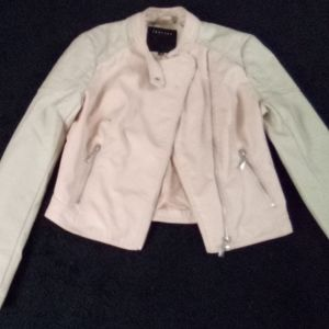 Pink and cream color leather jacket